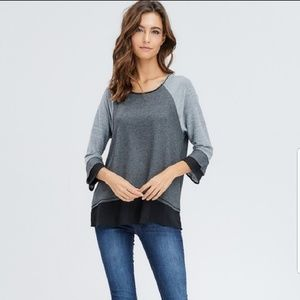 New!! Chaz tiere sleeved & hem top